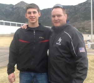 O'Hara with Air Force wrestling coach Joe Sharratt.
