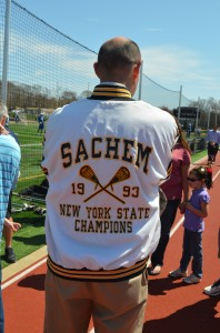 Sachem coach Tony Petillo sporting his state title jacket.